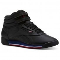 Reebok Freestyle HI Shoes Womens Retro-Black/White/Bunker Blue/Primal Red/Coal (472EBWVT)