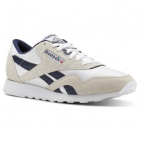 Reebok Classic Nylon Shoes Mens Archive-White/Collegiate Navy (475DNHVY)