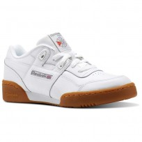 Reebok Workout Plus Shoes For Kids White/Dark Grey/Red/Royal (485VICTF)