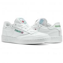 Reebok Club C 85 Shoes Mens Intense White/Green (486BANPI)