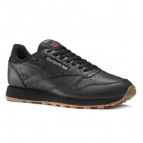 Reebok Classic Leather Shoes Mens Intense Black/Gum (489UZGDE)