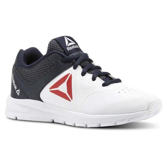 Reebok Rush Runner Running Shoes Boys White/Collegiate Navy/Primal Red (496KEJQG)