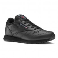 Reebok Classic Leather Shoes Kids Black (496QZIDL)