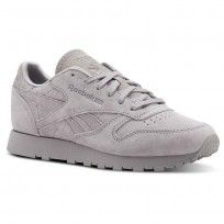 Reebok Classic Leather Shoes Womens Ref Exm-Whisper Grey (501LEAPO)