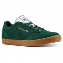 Reebok Club C Gum Shoes Mens Dark Green/White/Gold/Gum (501SAVGK)