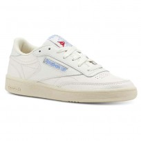 Reebok Club C 85 Shoes Womens Vintage-Chalk/Paper Wht/Athletic Blue/Exc Red (502BWCST)