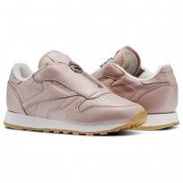 Reebok Classic Leather Shoes Womens Shell Pink/Chalk/Silver Metallic (502QPVED)