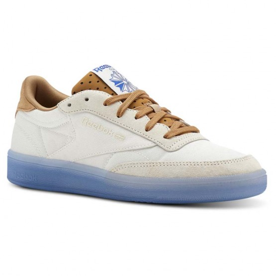 Reebok Club C 85 Shoes Womens Neon Ice-Chalk/Soft Camel/Vital  Blue (505WRCLS)