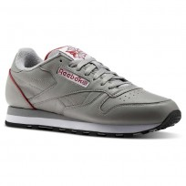 Chaussure Reebok Classic Leather Homme Grise Clair/Blanche/Rouge/Noir (507QRJKX)