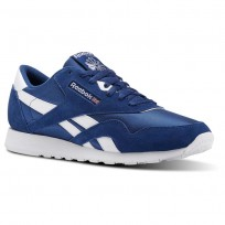 Reebok Classic Nylon Shoes Mens Sf-Bunker Blue/White (508MDOLT)