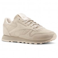 Reebok Classic Leather Shoes Womens Beige/Sand Stone/Pale Pink (508QFUPO)
