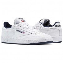 Reebok Club C 85 Shoes Mens Intense White/Navy (512AFUMQ)