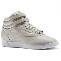Reebok Freestyle HI Shoes Womens Beige/Sandstone/White (529XKOUS)