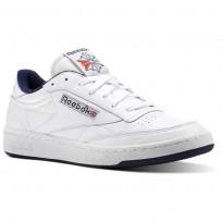 Reebok Club C 85 Shoes Mens White/Collegiate Navy/Excellent Red (531LJIAH)