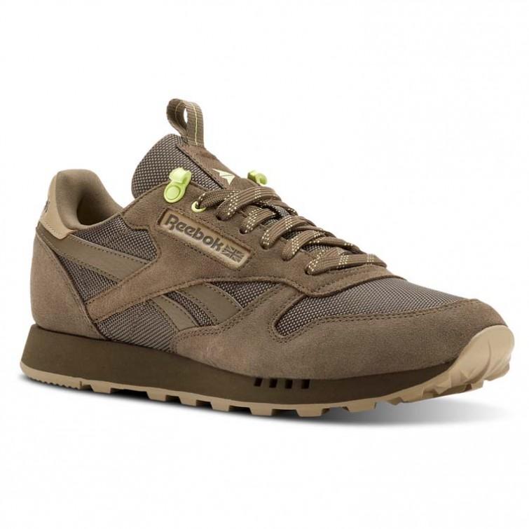 b676e130a6e6 Reebok Classic Leather Shoes Mens Explore-Terrain Grey/Super Neutral/Lemon  Zest (