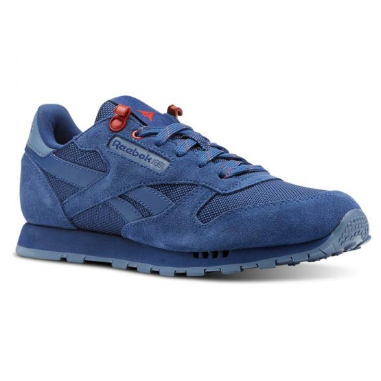 Reebok Classic Leather Shoes Boys Explore-Bunker Blue/Blue Slate/Primal Red (557PMDJZ)