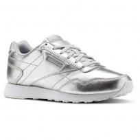 Reebok Royal Shoes Womens Silver Metallic/White (557WBAOJ)
