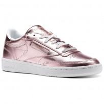Reebok Club C 85 Shoes Womens Pink/Copper/White (560VGWNM)