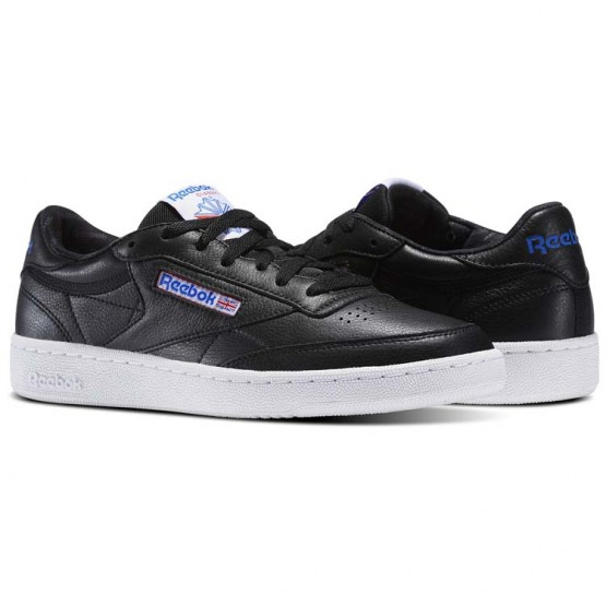 Reebok Club C 85 Shoes Mens Black/White/Vital Blue/Primal Red (577UBTMJ)
