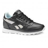 Reebok Classic Leather Shoes Girls Ss-Black/Dreamy Blue/Tin Grey/Wht (579QMCOE)