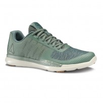 Reebok Sprint TR Training Shoes Mens Chalk Green/Mineral Blue/Parchment/Gum (606XLYCH)
