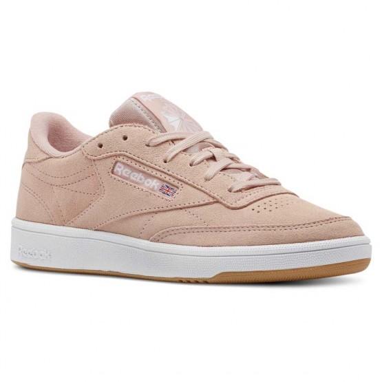 Reebok Club C 85 Shoes Womens Premim Basic 3-Peach Twist/Gum/White (615AEFBQ)