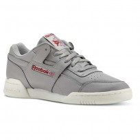 Reebok Workout Plus Shoes Mens Vintage-Mgh Solid Grey/Power Red (617EJOPU)