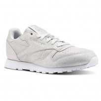Reebok Classic Leather Shoes Girls Ms-Silver Met/Skull Grey/White (623BZNHO)