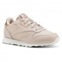 Reebok Classic Leather Shoes Girls Rm-Bare Beige/Chalk (638BIQST)