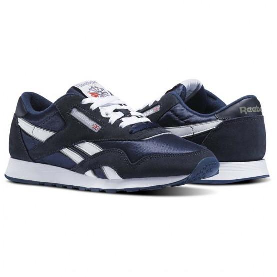 Reebok Classic Nylon Shoes Mens Team Navy/Platinum (639OLKPG)