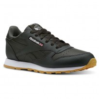 Reebok Classic Leather Shoes Kids Gum-Dark Cypress/White (640KOULF)