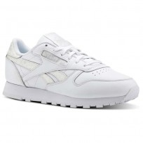 Chaussure Reebok Classic Leather Femme Blanche Stripes/Grise (644FAGJB)