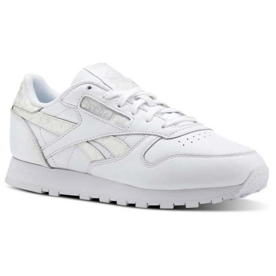 Reebok Classic Leather Shoes Womens Sidestripes-White/Lgh Grey (644FAGJB)