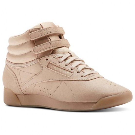 reebok freestyle hi παπουτσια γυναικεια μπεζ/ασπρα (654udrew)