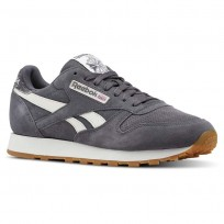 Reebok Classic Leather Shoes Mens Sg-Ash Grey/Chalk/Gum (655PWHXG)