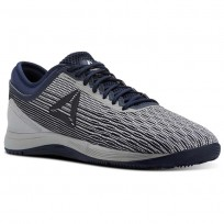 Reebok CrossFit Nano Shoes Mens Grey/White/Collegiate Navy/Stark Grey (656SEQHG)
