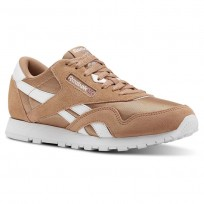 reebok classic nylon παπουτσια για κοριτσια καφε/ασπρα (674yqbmg)