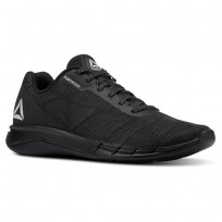 Reebok Faster Flexweave Running Shoes Mens Black/Stark Grey (676SFEQP)