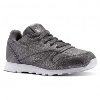 Reebok Classic Leather Shoes Girls Ms-Pewter/Ash Grey/White (679SPOYR)