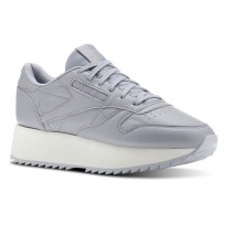 Reebok Classic Leather Shoes Womens Double  Cool Shadow/Chalk/Cloud Grey (687QPZLM)