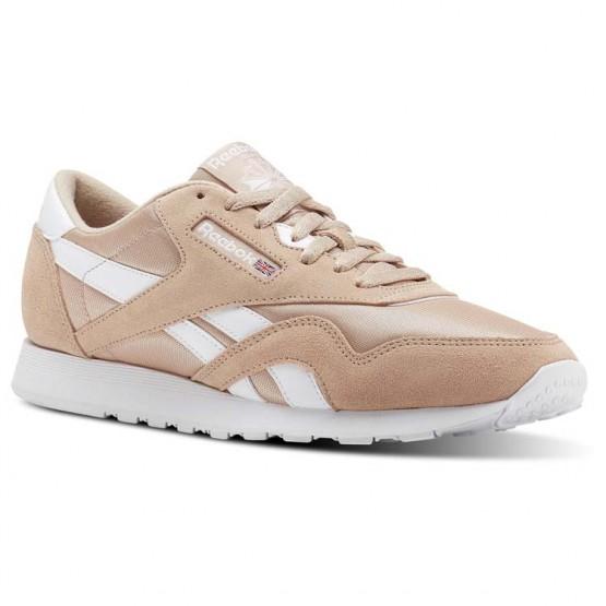 Reebok Classic Nylon Shoes Mens Sf-Bare Beige/White (694EHSUV)