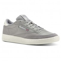Reebok Club C 85 Shoes Mens Trc-Tin Grey/Chalk (702WEZKY)