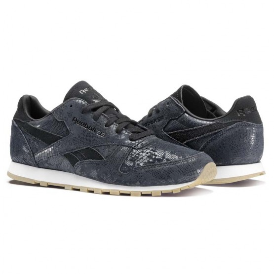 Reebok Classic Leather Shoes Womens Black/Chalk/Gum (713EJNAR)