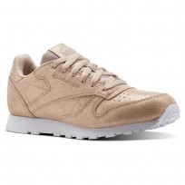 Reebok Classic Leather Shoes Girls Ms-Rose Gold/Bare Beige/White (715JNHMY)