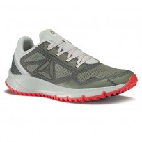 Reebok All Terrain Running Shoes Mens Green/Cloud Grey/Iron Stone/Dayglow Red/Metallic Grey (717FCOQP)
