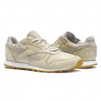 Reebok Classic Leather Shoes Womens Stucco/Chalk/Sand Stone/Gum (721ONHIY)
