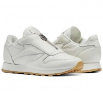 Reebok Classic Leather Shoes Womens Chalk/Sandstone/Metallic Silver (736LKTZE)