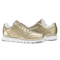 Reebok Classic Leather Shoes Womens Gold/Pearl Met-Grey Gold/White (740KUXFG)