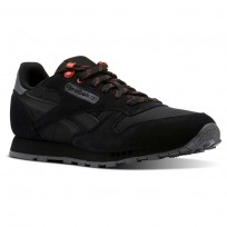 Reebok Classic Leather Shoes Kids Explore-Black/Alloy/Carotene (752LDOQV)