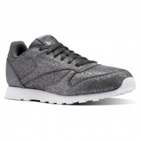 Reebok Classic Leather Shoes Girls Ms-Pewter/Ash Grey/White (767XTMAS)